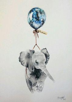 Far far away(elefante bebe acuarelas)