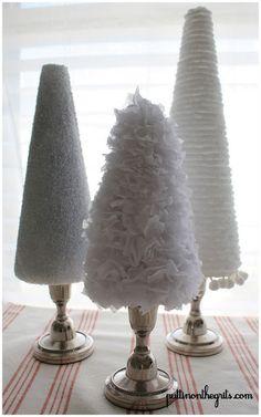 Weihnachtsbäume aus Kerzenständern