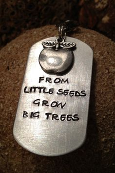 Hand Stamped From Little Seeds Grow Big Trees Teacher's Keychain Including Apple…