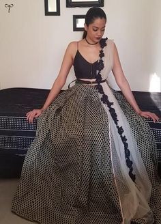 Find most amazing black lehenga designs for your bridal parties here and bold your beauty. Check the exclusively curated list of latest black lehengas. Indian Lehenga, Black Lehenga, Bollywood Lehenga, Bollywood Dress, Sabyasachi, Lehenga Choli, Lehenga Designs, Indian Wedding Outfits, Indian Outfits