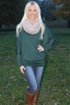 Magnolia Boutique Indianapolis -  Long Sleeve Dolman Tunic- Hunter Green, $25.00 (http://www.indiefashionboutique.com/long-sleeve-dolman-tunic-hunter-green/)