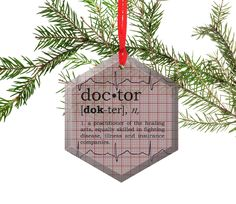 Doctor Definition Funny Glass Christmas Ornament