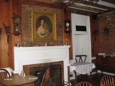 Dining room in the old kitchen of the Wayside Inn in Middletown, VA.  George Washington probably stayed here - It's that old and historic.  Great food - peanut soup is a specialty.