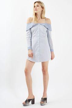 Stripe Bardot Shirtdress - Topshop USA
