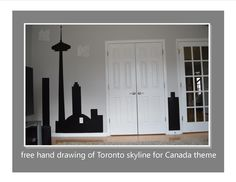 themed rooms are my favorite. I decorate walls and bring rooms to life. Loved doing this Canada room and drawing the skyline of the CN tower free hand.