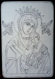 Our Lady of Perpetual Help? Religious Tattoos, Religious Icons, Religious Art, Christian Drawings, Christian Artwork, Byzantine Art, Byzantine Icons, Writing Icon, Virgin Mary Art