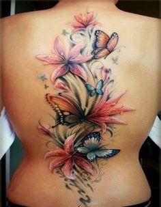 Best Flower Tattoo Women Ideas 2014 : Beautiful Butterfly Orchid Tattoo Design