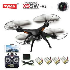 ﹩54.98. Syma X5SW-V3 Wifi FPV 2.4G RC Quadcopter Drone with HD Camera + 4 Batteries    Type - Quadcopter, Camera Integration - Camera Included, FPV Operation - Yes, Camera Features - 720p HD Video Recording, Maximum Flight Time - 7 min., Maximum Control Range - 100ft. (30m), Color - Matte-Black, Fuel Source - Electric, - Ready-to-Go, Drone Type - Ready to Fly Drone, Drone Connectivity - Wi-Fi Connection