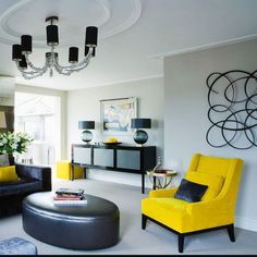 """""""Yellow  is a versatile color thanks to the existence of a huge range of shades and tones it can be used in the decoration of any corner of the house to enliven the interior.""""-Interior Design Mag  #livingroom #interiordesign #interiordesignmag #blackandyellow #chair #furniture #pretty #everythingpretty #mellowyellow #yellow by everythingprettyinc"""