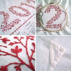 embroidered tea towel
