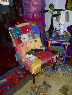 Love this patchwork slip cover - for Granny's slipper chair?