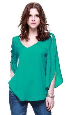 Zuri Zuri By Flora Women's Fashionable Casual Wear Long Sleeve Solid Color Blouse X-Small Green Zuri Zuri By Flora http://www.amazon.com/dp/B00GXN3YGU/ref=cm_sw_r_pi_dp_GNSAub0GD6FT8