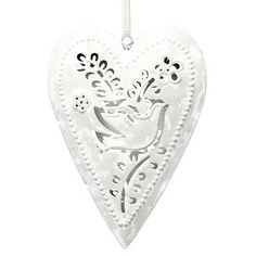 A perfect decoration with vintage styling in the shape of a heart with a dove motif. Perfect for Christmas or all year round. Heart Decorations, Christmas Decorations, Vintage Heart, Vintage Fashion, Vintage Style, Filigree, Dog Tag Necklace, Velvet, Shapes