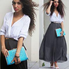 H&M Sporty White Orange Strap Heels, Summum Dark Grey Pleated Maxi Skirt, In Love With Fashion White Blouse, La Moda Uk Blue Crocodile Look Clutch