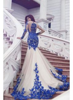 Long Sleeve Royal Blue Lace Evening Dresses Mermaid Tulle Prom Gowns 2017
