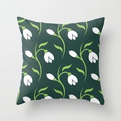 Spring Snowdrop Pattern Throw Pillow by pixaroma Duvet Covers, Iphone Cases, Cushions, Throw Pillows, Spring, Pattern, Mugs, Bedroom, Design