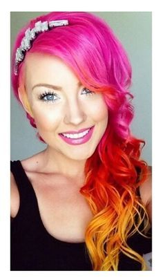 Hot pink with red & yellow tips