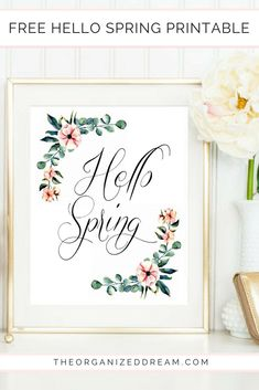 The Organized Dream: Free Floral Hello Spring Printable Easter Printables, Free Printables, Easy Diy Crafts, Crafts For Kids, Easter Gift Baskets, Spring Home Decor, Spring Is Coming, Day Planners, Hello Spring