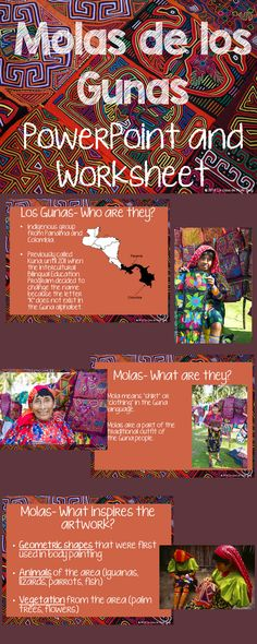 The Guna people of Panama and Colombia are famous for the art work known as molas. This PowerPoint introduces both the people and the art form to students. This is a perfect activity to talk about the Guna and their way of life. Also, great for discussion on the changes that occurred from the Spanish conquest. A worksheet accompanies this PowerPoint that is full of information and beautiful images. Great way to add culture to the classroom. Click here to see a preview!