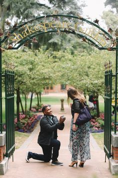Adorable marriage proposal at Shakespeare Garden, and she was so proud of his perfect proposal planning! Ways To Propose, Proposal Photos, Perfect Proposal, Marriage Proposals, Dream Ring, Marry Me, Shakespeare, Dream Dress, Wedding Things
