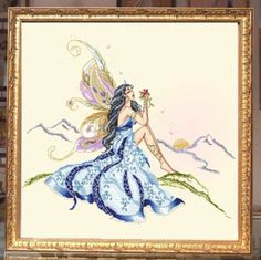 Passione Ricamo Morning Fae, The - Cross Stitch Pattern. Model stitched on 30 count Florentia Champagne Italian linen using DMC floss & Rainbow Gallery (PH02 PB