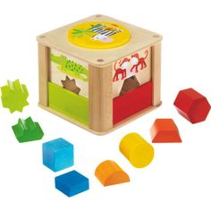 HABA Zookeeper Wooden Shape Sorting Box a Twist - Explore Whole Half Shapes - 12 Months + Lego Technic, Toddler Toys, Baby Toys, Organic Baby Wipes, Zoo Toys, Kids Toys Online, Geometry Lessons, Stacking Toys, Wooden Shapes