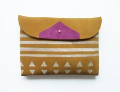 Patterned Suede Clutch // golden honey suede with white print