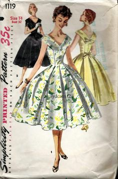 Vintage 1950s V Neck and Back Full Skirt Party Dress by sydcam123, $18.00