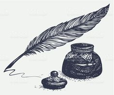 vector-freehand-drawing-of-ancient-pen-and-inkwell-vector-id488593639 1 024 × 854 pixels