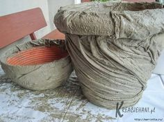 cement cloth planters - Google-Suche. I wonder if you can use old tshirts for this?