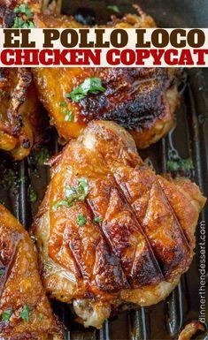 El Pollo Loco Chicken marinated in citrus and pineapple juice overnight for the . El Pollo Loco Chicken marinated in citrus and pineapple juice overnight for the PERFECT El Pollo Loco copycat recipe! Grilled Chicken Recipes, Marinated Chicken, Easy Chicken Recipes, Turkey Recipes, Pollo Asada Recipe, El Pollo Loco Chicken Recipe, Grilling Recipes, Cooking Recipes, Mexican Food Recipes