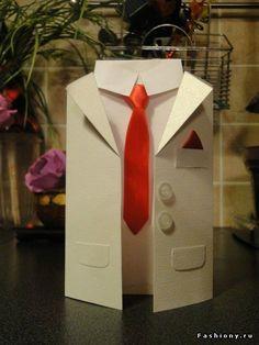 Делаем сами: открытка «Мужской смокинг и галстук». Мастер-класс