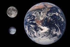 A comparison of the sizes of the Earth, Moon, and Ceres;The dwarf planet Ceres is located in the midst of the asteroid belt between Jupiter and Mars. The only dwarf planet in the inner solar system, Earth And Space, Planet Earth From Space, The Blue Planet, Our Planet, Small Planet, Cosmos, Les Satellites, Photo Timeline, Johnson Space Center