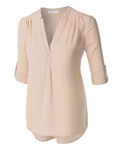 LE3NO Womens Flowy Long Sleeve Semi Sheer Chiffon Blouse Top. Love the navy!