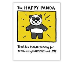 Edward Monkton - The Happy Panda, Limited Edition Print, 21 x Unframed Edward Monkton, Card Writer, Happy Panda, Panda Panda, Flamingo Gifts, Bear Art, Love People, Happy Thoughts, Make Me Smile