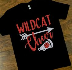 super popular 321ba b3db9 School Spirit Wildcat Cheer Shirt, Cheerleading, Wildcat Mom T-Shirt,  Glitter Tee, School Mascot, Team Spirit, Customize Your Team   Colors
