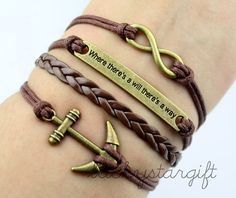 Where there is a will there is a way infinity charm & cool anchor bracelet brown rope brown leather braided bracelet bracelet fashion -Q322by luckystargift, $4.39