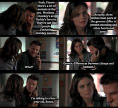 Booth talking on the phone to his son and Brennan doing what she does best, talking about facts.