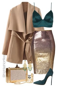 """""""Emerald x Gold"""" by highfashionfiles ❤ liked on Polyvore featuring Donna Karan, Elie Saab, Topshop, Casadei, Forever 21 and Claudia Baldazzi"""