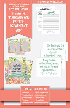 """Relief Society lesson helps for Chapter 14: """"Marriage and Family-Ordained of God"""" Ezra Taft Benson. www.Latter-DayVillage.com"""