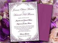 "Vintage DIY Wedding Invitation Template | Vintage Vines ""Lavanderia"" Garden Plum Eggplant | Downloadable Wedding Invitation | Modern Wedding by PaintTheDayDesigns, $10.00"