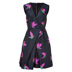 MARC BY MARC JACOBS Blue Night Bird Taffeta Dress ($685) ❤ liked on Polyvore
