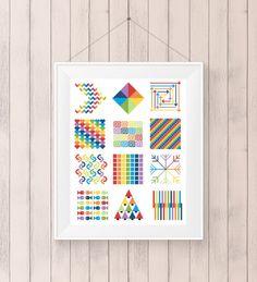 Modern Cross Stitch Pattern Geometric Rainbow PDF by KnitSewMake