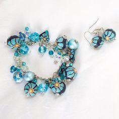 Handmade Summer Hearts and Daisy beads   blue by CherryCherryBoom