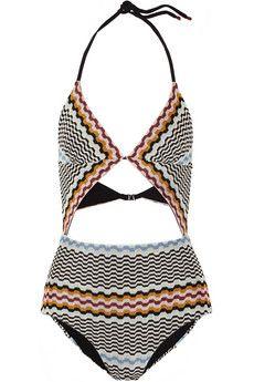 Missoni Cutout crochet-knit swimsuit | NET-A-PORTER