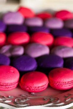 Pink and Purple wedding macarons Tea Party Wedding, Wedding Cake, French Macaroons, Shimmer N Shine, Purple Wedding, Tray Bakes, A Table, Pink Purple, Wedding Inspiration