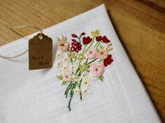 Handmade hand embroidered handkerchiefs wedding bouquet daisy