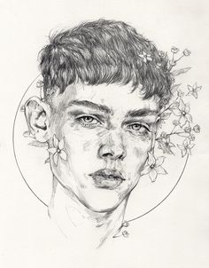 """Bouquet"" by Adria Mercuri, male head portrait drawing. adriamercuri.com"