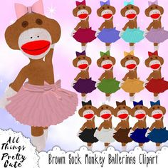 Brown Sock Monkey Ballerina Clipart, commercial use clipart, sock monkeyparty, sock monkey decor, so Sock Monkey Decor, Monkey Decorations, Sock Monkey Party, Sock Monkey Birthday, Brown Socks, Baby Shower Clipart, Rainbow Socks, Ballet Poses, Custom Socks