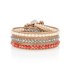 'Nairobi' Triple bronze leather wrap bracelet entwined with rainbow and orange crystals